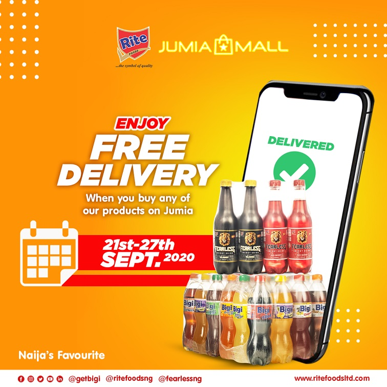 Free Delivery Campaign on Jumia for all Rite Foods Beverage Products from 21st to 27th of September 2020